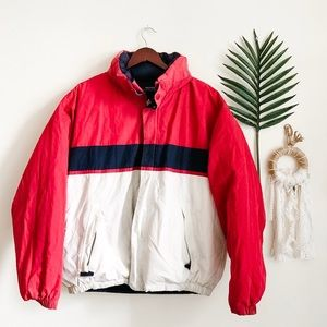 Vintage Nautica Puffer Coat / Red Blue White